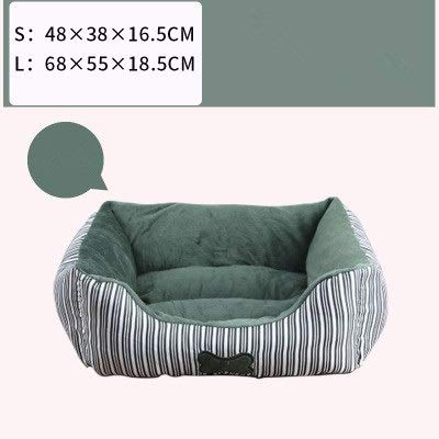 Green L Green L Square pet Bed, Striped Bones Small Foldable Soft Comfort Four Seasons Universal Cat Litter Kennel (color   Green, Size   L)