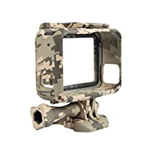 SODIAL(R) Protective Housing Case for GoPro Hero 5 Outdoor Camouflage Standard Border Frame for Go Pro Hero 5 Case for Gopro Accessories, Grey camo