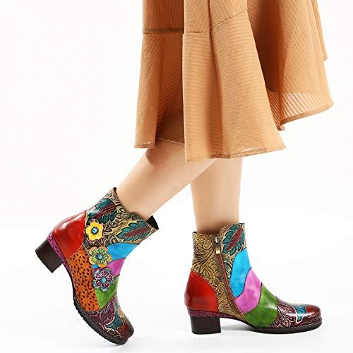 Shoes Tacones camfosy Winter 2018 Cuero Rosa Y Bohemian Original Suela Cordones Anchos Rojo Pies Botas Diseño Marrón Azul De City Planos Con Cómoda Para Liso qIt8Yw8