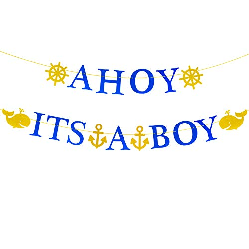 Ahoy Its A Boy Banner Nautical Themed Whale Anchor Sailor Garland Baby Shower Birthday Party Decorations [Large Size]