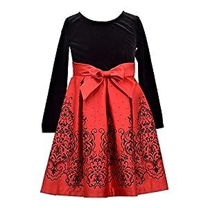 Best Epic Trends 41a1aFWK8eL._SS300_ Bonnie Jean Girls Christmas Red Long Sleeved Velvet Satin Dress
