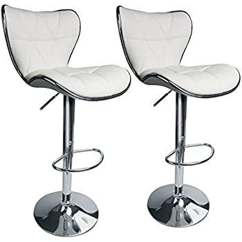 Leopard Shell Back Adjustable Swivel Bar Stools, PU Leather Padded With  Back,Set Of
