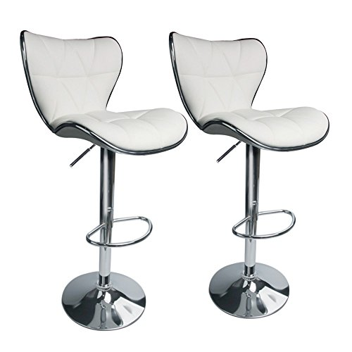 Back Adjustable Leather - Leopard Shell Back Adjustable Swivel Bar Stools, PU Leather Padded with Back,Set of 2,White