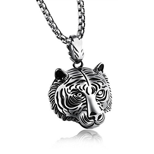[Jewelry/Necklace Odeer 2017 Stainless Steel 60CM Men Pendant Necklace Of Animal Tiger Exterior Men Necklace (Materiel:Stainless Steel) :] (Difference Between Fashion Jewellery And Costume Jewellery)
