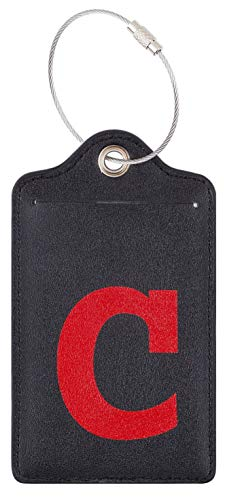Chelmon Initial Luggage Tag with Full Privacy Cover and Stainless Steel Loop (C)