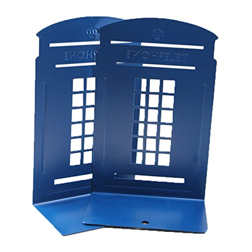 ZoroPlan Cute Book Nonstick Bookends Retro British Style Telephone Booth Bookend Bookends, 1 Pair (Blue) by...