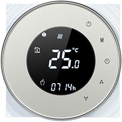 Decdeal Thermostat WiFi Runde LCD Touchscreen Wandthermostat 5A Programmierbare Hintergrundbeleuchtung 0.5 ° C Genauigkeit Sprachsteuerung App Fernbedienung für Fußbodenheizung Wasserheizung
