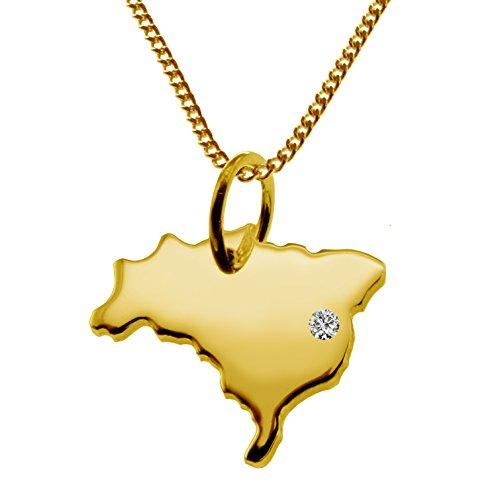 Endroit Exclusif Brésil carte Pendentif avec brillant à votre Désir (Position au choix.)-avec Chaîne-massif Or jaune de 585or, artisanat Allemande-585de bijoux