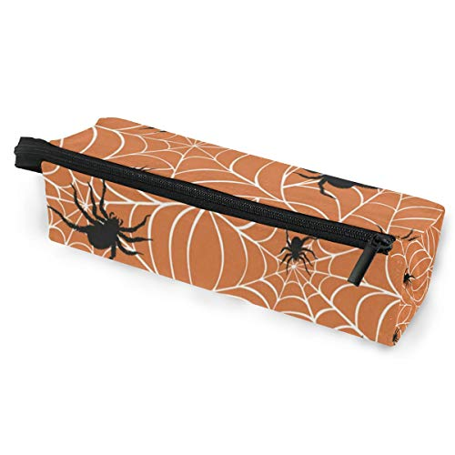 Sunglasses case Halloween Spiders On Webs Pen Pencil Case Stationery Pouch Storage Box Cosmetic Bags Eyeglasses Bag with Hanging Loop ()