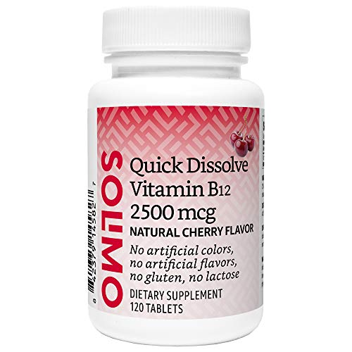 Amazon Brand - Solimo Quick Dissolve Vitamin B12 2500 mcg, Cherry Flavor, 120 Tablets, Four Month Supply