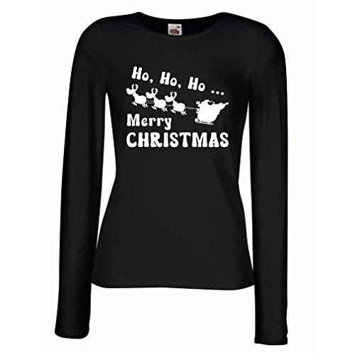 Camisetas de Manga Larga para Mujer regalos para Navidad ideas para regalar Negro Blanco