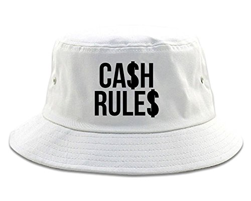 Kings Of NY Cash Rules Money Everything Around Me Music Bucket Hat White (Streetwear Bucket Hats)