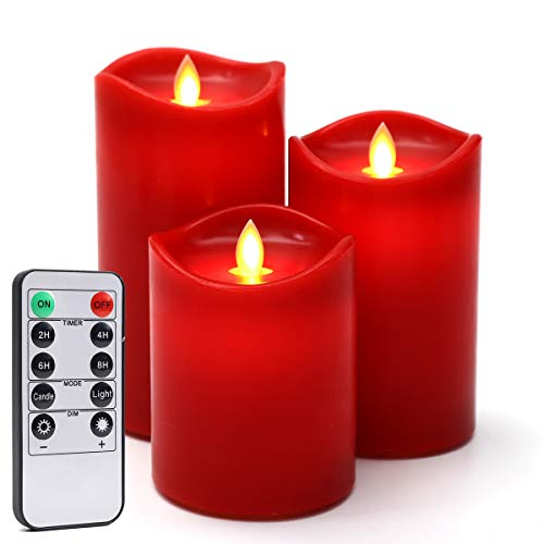 Flameless candles Red 3-Pack H 4''5''6'' D 3.25'' Wave Top LED Candles Light Real Wax Paraffin Pillar with Remote Control Battery Operated Timer Function