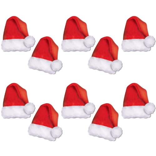 Beistle 22269, 10 Piece Mini Santa Hat Paper Cutouts, 5""