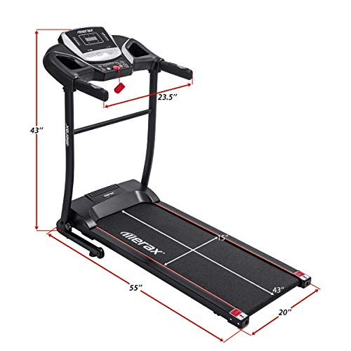 Merax Electric Folding Treadmill – Easy Assembly Fitness Motorized Running Jogging Machine with Speakers for Home Use, 12 Preset Programs (Black) by Merax (Image #6)