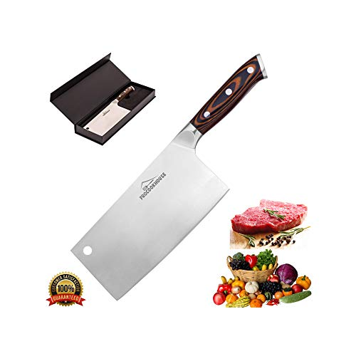 7 inch Stainless Steel Professional Cleaver knife - Chinese Chopper knife - Butcher Chef knife by ProCookHouse