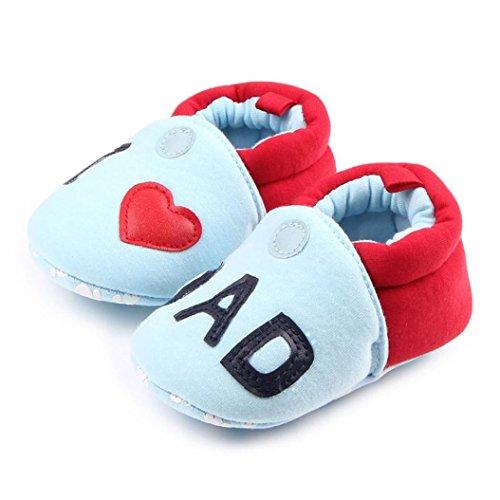 Hunpta Lovely Kleinkind erste Wanderer Baby Schuhe runde Zehe flache weiche Pantoffel Schuhe Blau