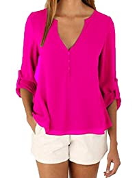 Women's V Neck 3/4 Sleeve Plus-Size Solid color Casual Dolman Top