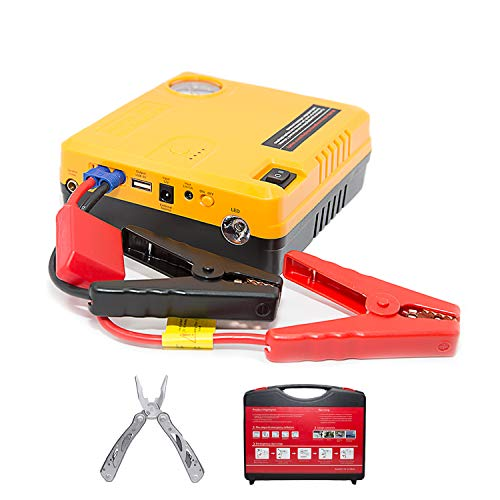 Car Jump Starter Air Compressor Pump 600A Phone power bank charger & Air Pump USB Ports Portable 16800 mAh start a 6.0 L gas engine or 5.0 L diesel engine Tire Inflator Bonus Multi tool