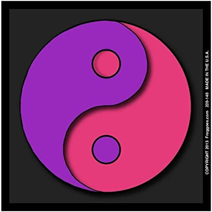 YING YANG PURPLE PINK WITH BLACK BACKGROUND STICK ON