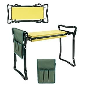 Acazon - Rodillera plegable para el hogar, jardín, silla de playa, con bolsa de herramientas