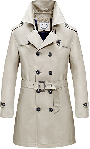 S&S Men's Classic Split Lapel Cotton Double Breasted Half Trench Coat Jacket With Belt