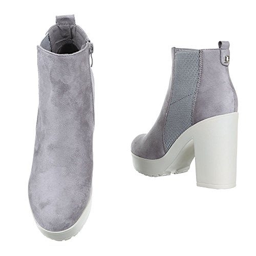 Ital-Design Damen Schuhe, S4837-1, Stiefeletten Stretch Plateau Boots Grau