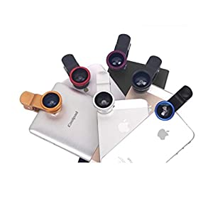 LuxsureFish Eye Lens+Wide Angle Lens+Macro Lens 3-in-1 Kit for Apple iPhone 6 4 4S 5 5C 5S 4 3GS iPad Samsung Galaxy S4 S3 S2 Note 3 2 1 Sony Xperia L36h L38i HTC ONE Motorola Smartphones