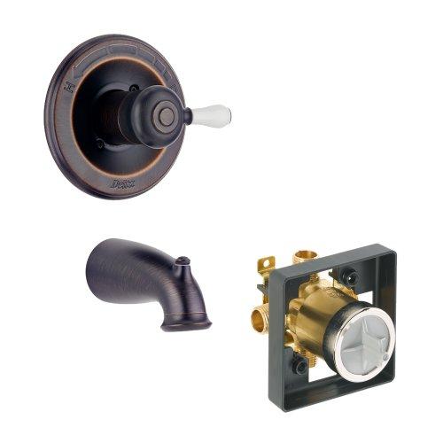 (Delta Delta KTDLE-T14178H777-RB Leland Tub Filler Kit Pressure-Balance Single-Function Cartridge with Porcelain Lever Handle, Venetian Bronze Venetian Bronze)