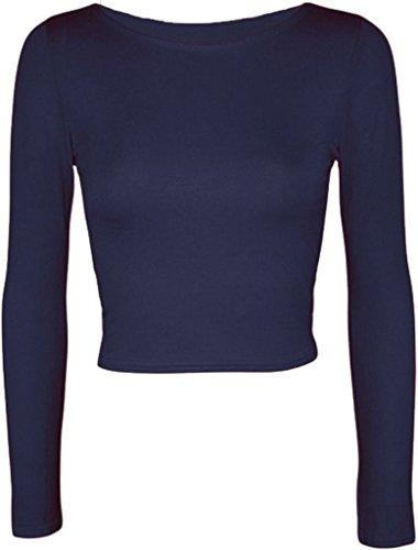 MKL Fashions - Camiseta de manga larga - para mujer azul marino