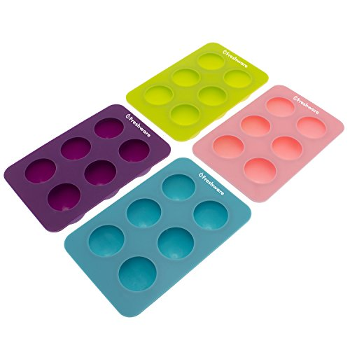 Freshware CB-650 Silicone 6-Cavity Round Chocolate Truffle, Candy and Gummy Mold, Pack of 4 by Freshware (Image #1)