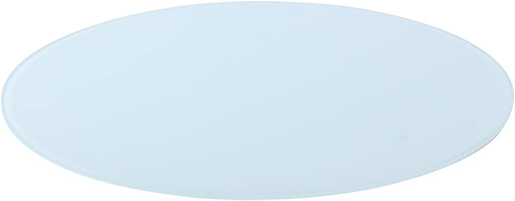 Milan 3 8 Thick with Flat Edge Round Glass Top, 48 , White