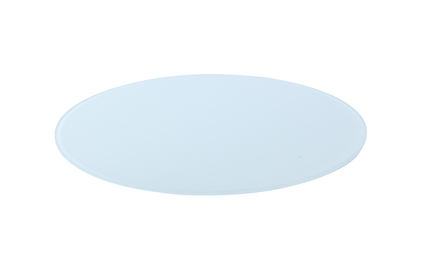 Milan 42 Round Glass Top, 3 8 Thick with Flat Edge, White