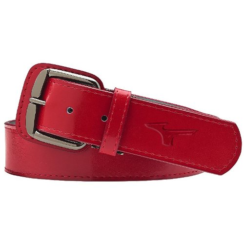 Metal Classic Belt (Mizuno Adult Classic Belt, Red, 40-Inch)