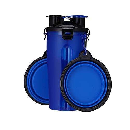 Pet Products 2 In 1 Dog Bowl Water Bottle Portable Pet Food Feeder Container With Collapsible Dog Bowls Outdoor Dog Walking Hiking Travelling Home & Garden