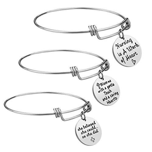 iJuqi Nurse Gift Bangle Bracelet Set - 3 PCS Stainless Steel Expendable Inspirational Nursing Bangle Bracelets, Nurse Gifts Jewelry Set for Women, Graduation Gifts, Birthday Gifts (Silver)