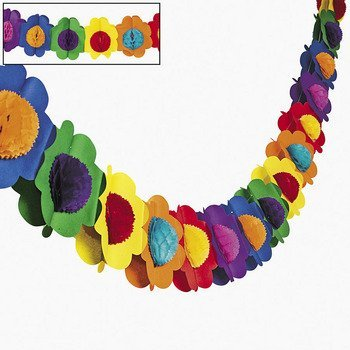 Fun Express Multicolor Tissue Flower Garland -