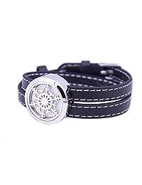 Mesinya Black Genuine Leather 1'' Fronze Snowflake Bracelet / 316L S.Steel Essential Oils Diffuser Locket Bangle 6''-7''wrist
