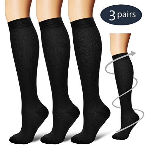 Laite Hebe Compression Socks,(3 Pairs) Compression Sock for Women & Men - Best for Running, Athletic Sports, Crossfit, Flight Travel ()