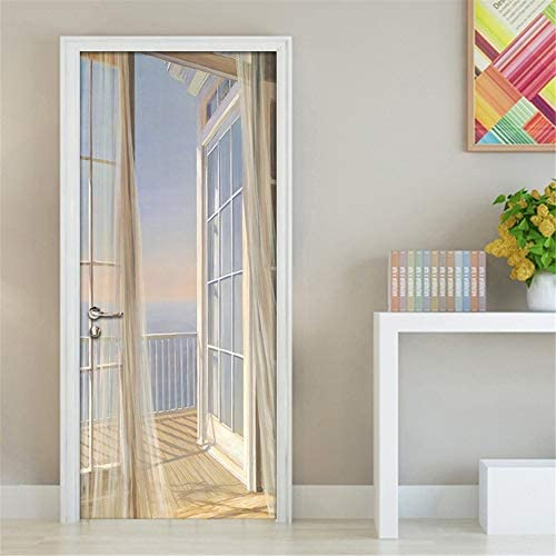 LOVEJJ Pegatinas de puerta en 3D Botellero Puerta de madera DIY Papel autoadhesivo Mural etiqueta Papel tapiz para el dormitorio calcoman/ía de la puerta de la casa 77x200 cm