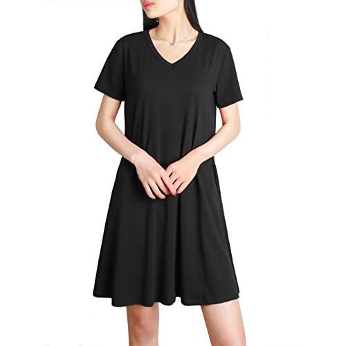 New DSUK Womens Short Sleeve V Neck Pocket Casual Loose T Shirt Dress