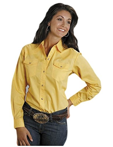 (Roper Women's L/S Solid Basic Snap Front, Yellow,)