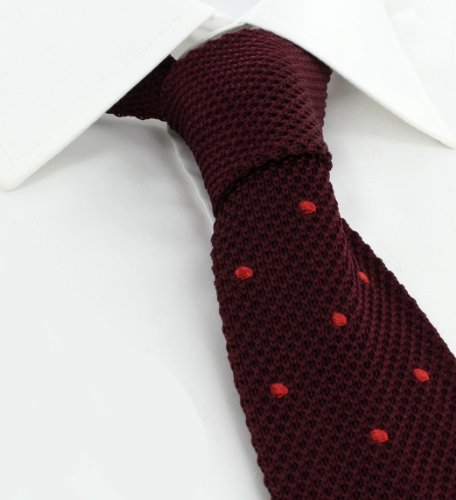 Red Tie Spots Silk Skinny With Wine Knitted Spot qWf4wH7