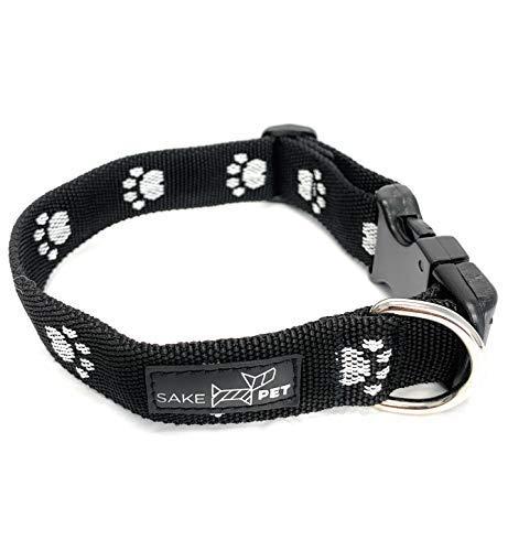 Sake Pet Nylon Dog Collar with Dog Tag and Fun Paw Print Design, Adjustable Collar, Classic Black, Xtra Small
