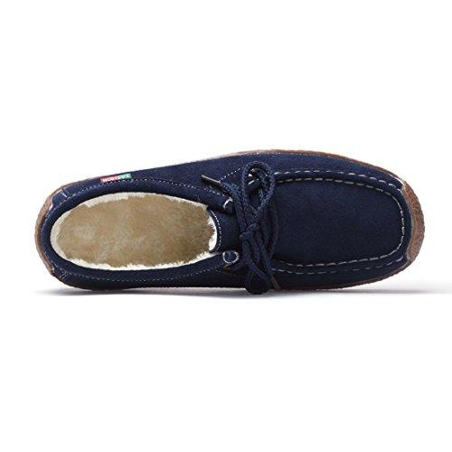 En Décontractée Marine Chaussures Femmes Des Bout Confortable Dentelle Jusqu'à suo Rond Plat Doublure Souple Bleu En Daim Mocassins Bleu Laine Z F5wIwx7