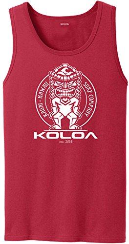 Joe's USA Koloa Surf Tiki Logo Heavyweight Cotton Tank Top-Red/w-3XL