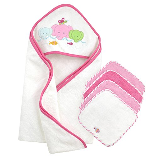 Just Born Just Bath Love to Bathe Knit 5-Piece Hooded Tow...