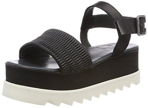 Shoe Biz Henny, Sandali con Zeppa Donna Nero (Cosico Oslo Velvet Black)