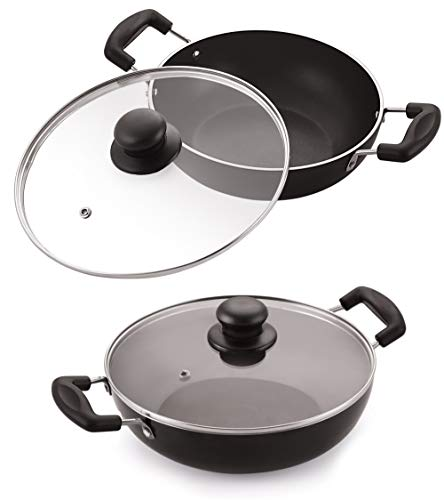 Celebrino 2 Pcs Deep Kadhai Set, Heat-Resistant Strong Handle, Heavy Guage 4mm Thick Aluminum Cookware for Induction/Electric/Ceramic/Gas Stove Tops, 3-Layer Nonstick Coatings