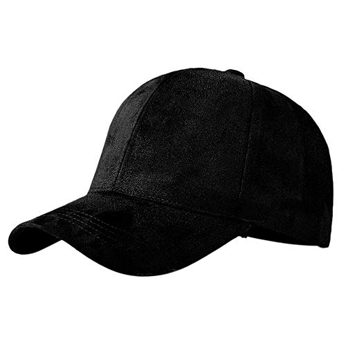 005d1d682 XRDSS Flannel Velvet Baseball Cap 6 Panels Solid Adjustable Ball Hats  Peaked Cap Black
